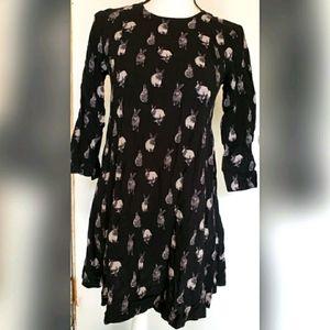 H&M Black Gray Bunny Rabbit Dress Half Sleeves